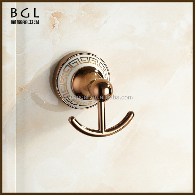 New 2016 Zinc alloy Polished rose gold Bathroom fixtures and accessories Wall mounted Bathrobe Hook