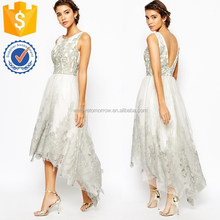 Wholesale women sleeveless elegant premium embroidered high low prom dress