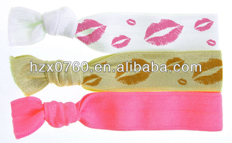 printed bow bungee hair tie/beautiful knotted elastic hair tie