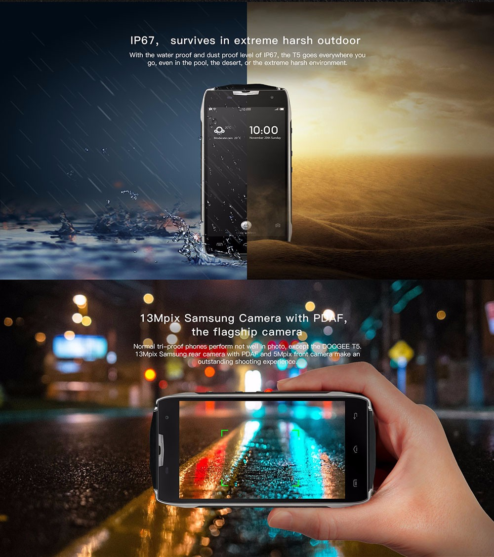 "Doogee T5 Smartphone 4500mah IP67 Waterproof Shockproof 5.0""Android 6.0 Octa Core MTK6753 3G RAM+32G ROM 13M 4G LTE Mobile phone"