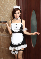 black and white classic maid costumes cartoon dress sexy uniform waiter clothing