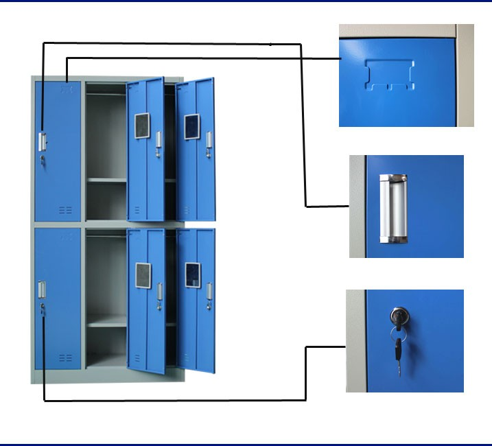 6 Door Blue Color Almiral Metal Market Parcel Locker Lock