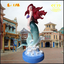 Custom Square Amusement Park Landscape Decorative Fiberglass Resin Marine Life Mermaid Sculpture