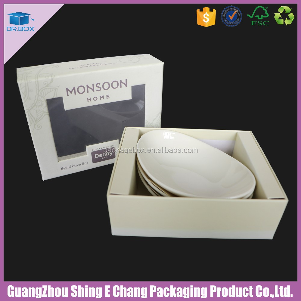 Guang zhou paper box manufacturer ceramic bowl box for custom box packaging window