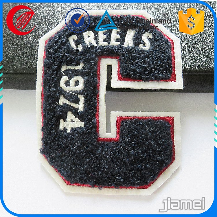Custom logo design embroidery chenille number patch