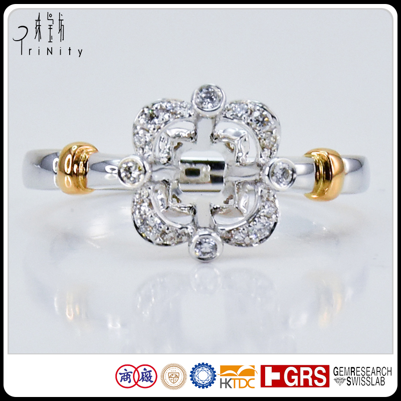 Best Selection 18 <strong>K</strong> Carat Real Gold Comfort Fit Unique Big Stone Solitaire Halo Four Claw Mounting 2 Tone Unique Engagement Ring
