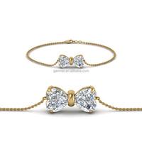 Fashion 14K yellow gold bow design AAA diamond heart charm bracelet