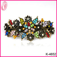 Hot sale colorful rhinestone metal hair clip with spring clips