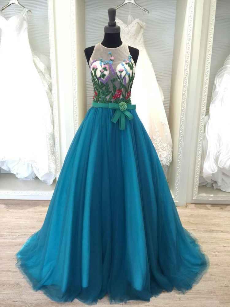 2016 latest dress designs pictures blue color for bridesmaid