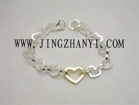 Silver Fashion Jewelry, 925 Silver Bracelet With Hearts
