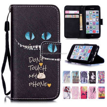 Cartoon Printing Wallet Leather Cover Case for iPhone 5C With Hand Strap
