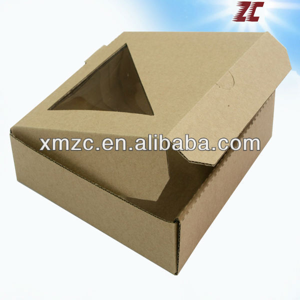 Customized Take Away Corrugated Paper Pizza Box with Window for Fast Food Packaging Box
