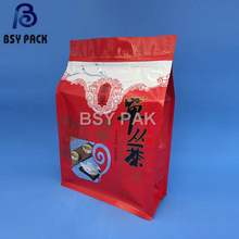 custom printed eco friendly 8 side sealed food packaging clear plastic aluminum foil zip lock bag with colored design