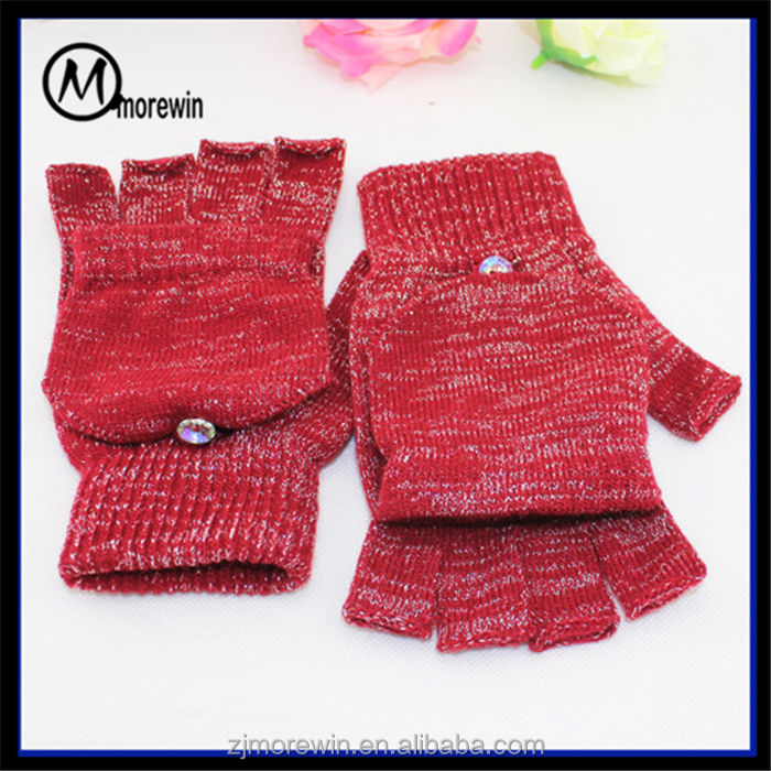 Morewin custom red and silver thread half finger gloves with flip top Amazon supplier hot sell winter fingerless flip cap gloves
