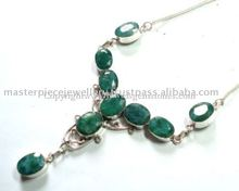 Silver Jewellery Necklace , Emerald with Pearl Necklace