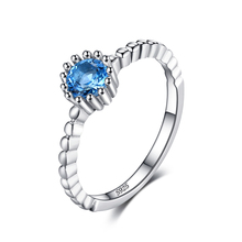 JewelryPalace 925 Sterling Silver 0.6ct Natural Blue Topaz Rope Band Stackable Ring