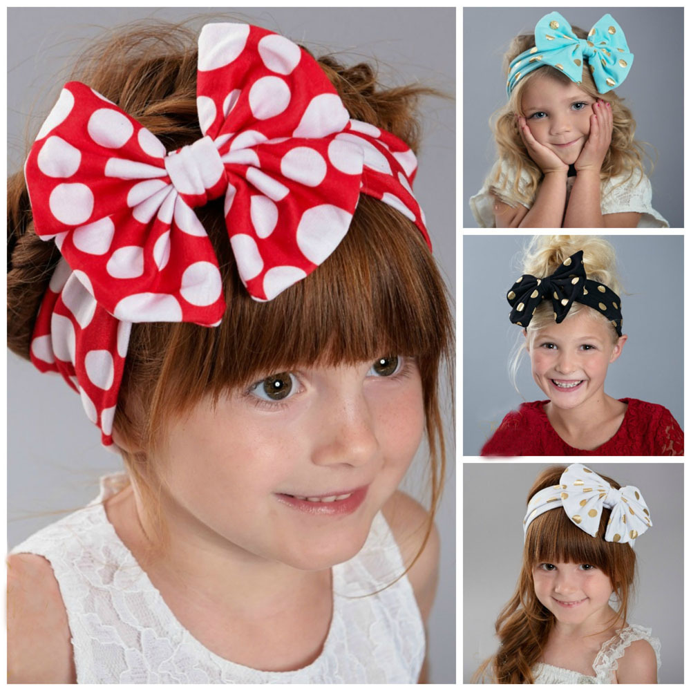 X60497A 2017 Lovely Baby Infant Head Wraps Bronzing Dot Elastic Hair Bands
