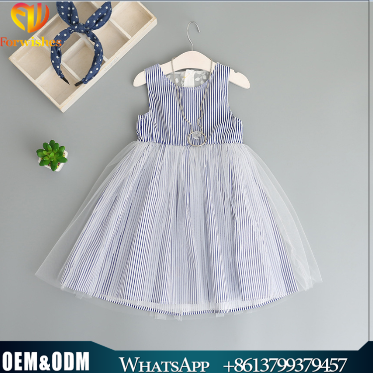 Kids Frock Designs Prctures Han Edition New Style Dress2017 Stripe Back Embroider Bowknot Tulle Stitching Dress