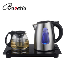 Wholesale stainless steel electric kettle with glass teapot and digital tray set