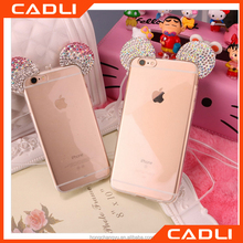Hot 3D Diamond Glitter Mickey Minnie Mouse Ears Rhinestone Clear Phone Case Cover For iPhone 7 7Plus