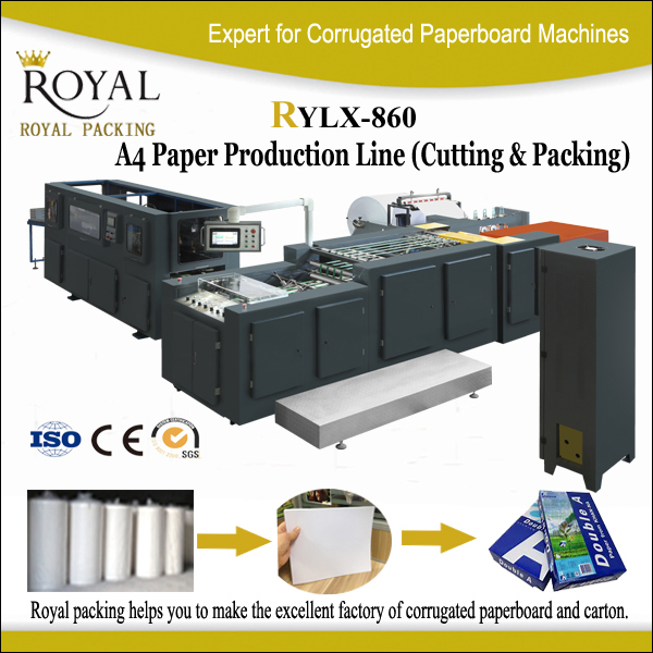 RYLX-860 a4 paper roll to sheet paper cutting packing machine
