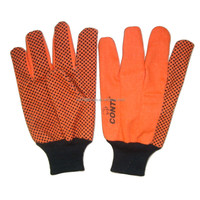 Cotton hand drilling gloves with black pvc dotted on palm gloves