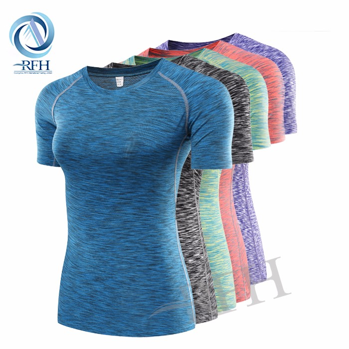 OEM Summer Short Sleeve Tight Fit Plain Blank gym fitness yoga wear Fashion t shirt for men and women