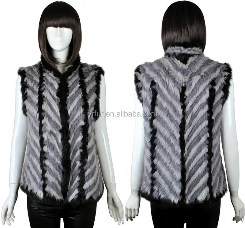 YR570 Plain dyed winter outer wear/ new design rabbit fur knitted vest/ wholesale clothing