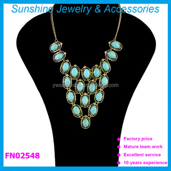 Sunshine new arrival natural turquoise bead necklace, choker collar necklace