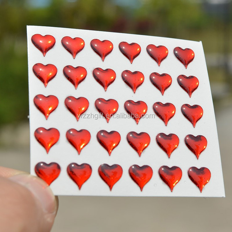 epoxy heart stickers