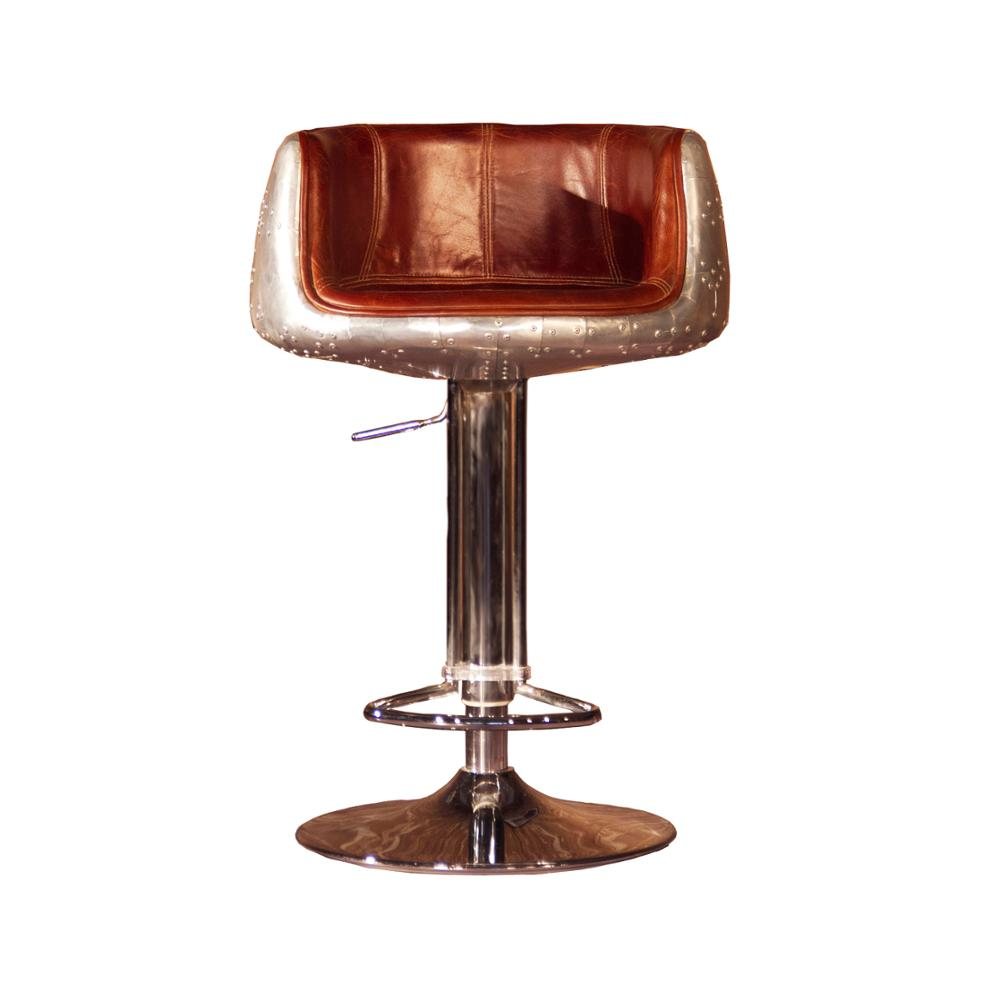 Aluminum Back Adjustable Real Leather Industrial Bar Stool