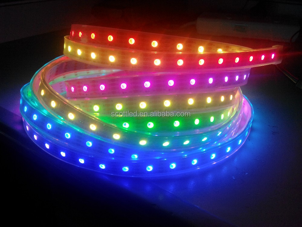 APA102 addressable full color LED strip 60leds/m digital color DC5V 5m/roll White PCB Waterproof IP67