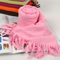 red polar fleece anti pilling with fringe for women fashion scarf