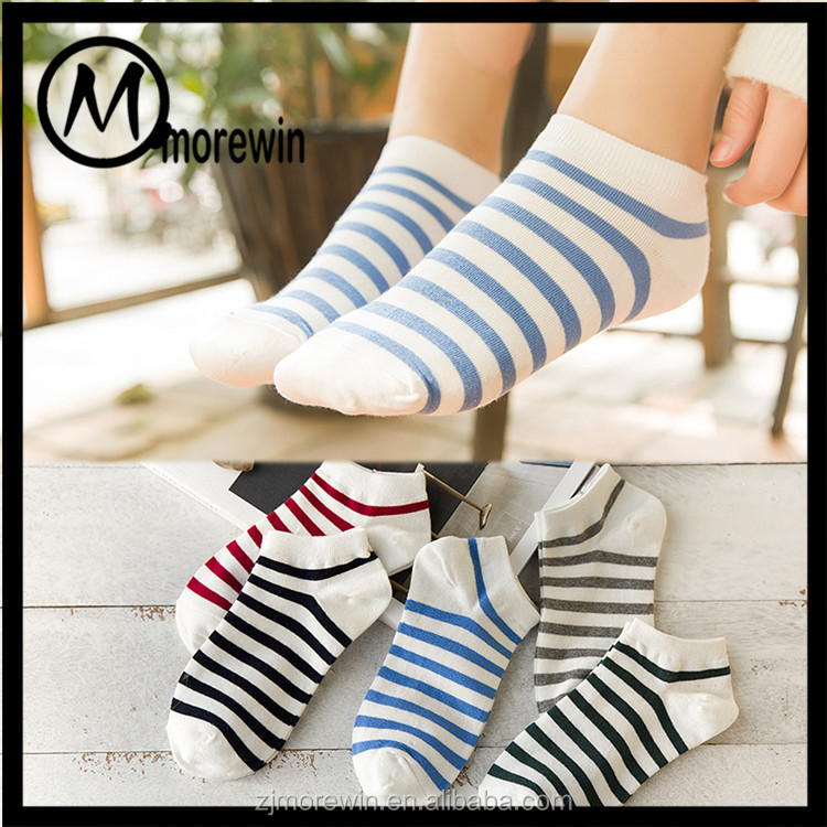 Morewin socks amazon hot sell fashion striped girl socks on show cotton women socks