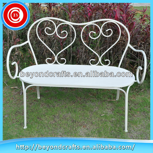 Newest white two seat leisure metal garden bench