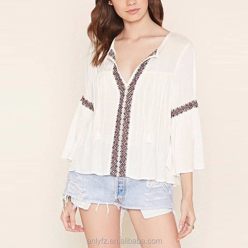 Lace-Embroidered Peasant Tops cheap long sleeve t-shirts for women made in china wholesale clothing for online shopping