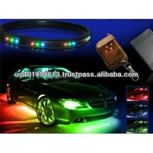 "7 Color LED Under Car Glow Underbody System Neon Lights Kit 36"" x 2 & 24"" x 2 with ** wireless keychain remote"