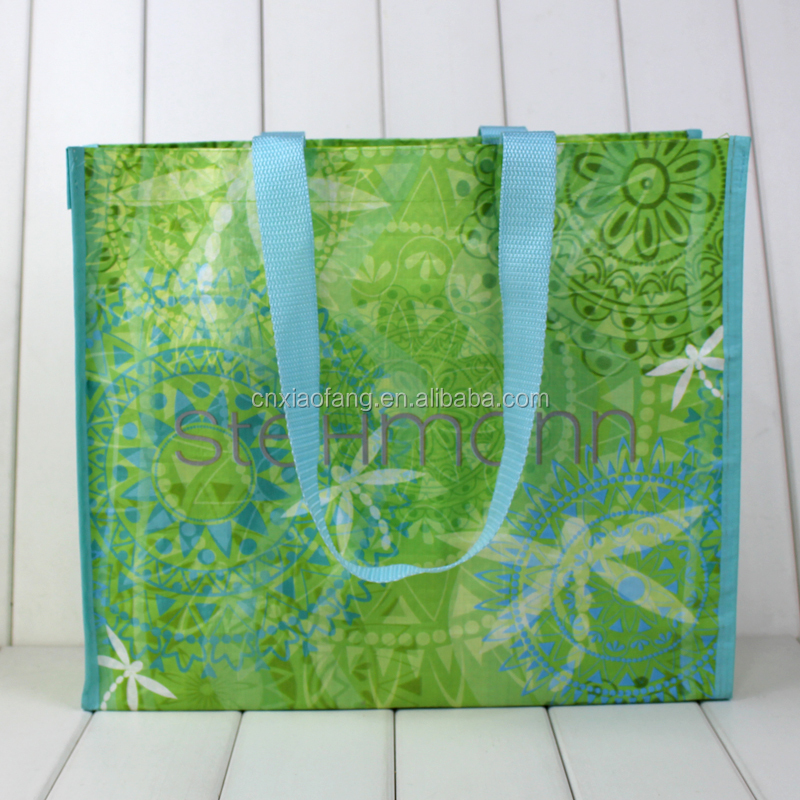 Wholesale cheap recycle full printing laminated pp woven bag, shopping bag