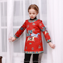 MS67554C color red fashion horse printing kids lovely dresses for kids