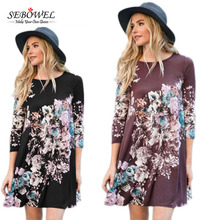 Latest fashion boho type long sleeve women cheap floral print dress