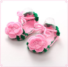 Factory-direct Selling Crochet Baby Girl Sandals Knitted Flower Infant Booties
