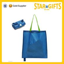 High quality rolling shopping tote blue polyester folding bag
