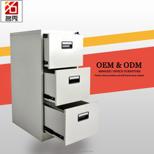 Factory direct 3 drawer vertical steel filing cainet, medical record metal furniture file cabinet