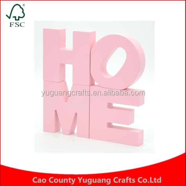 European style Decoration creative wooden decoration zakka home decor pink wooden letters