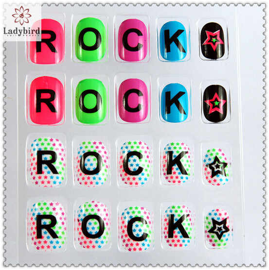 rock letters design nail tips