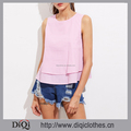 Newest designer garment Factory wholesale stylish girls Pink Buttoned Keyhole Back Two Layered Striped Tank Top
