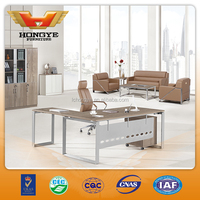 2015 more popular L-shaped metal legs office desk HY-BT17