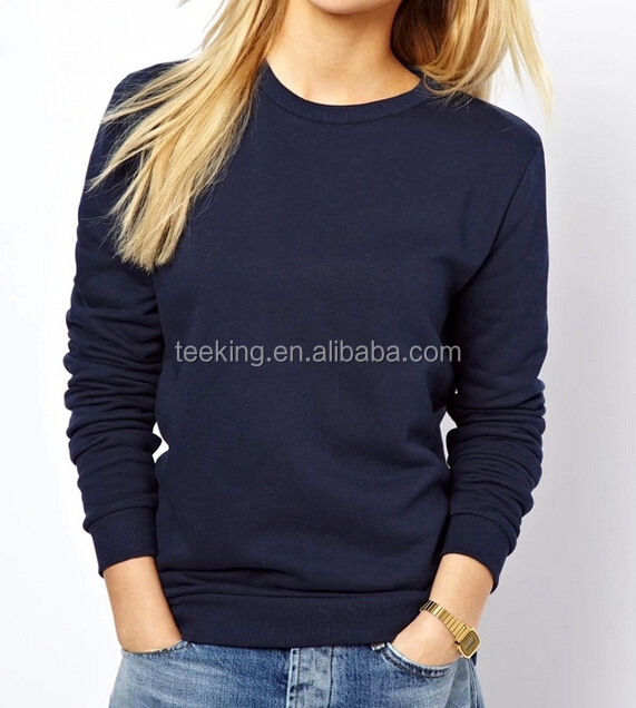 blank plain wholesale thick pullover sweatshirt for lady