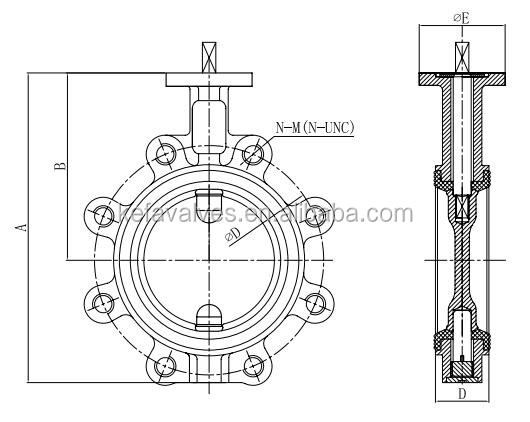 Lug Type Pin Vulcanized Seat Butterfly Valve