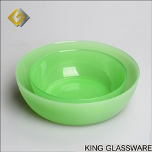 Custom OEM large green jade glass fruits and vegetables salad mixing bowls plates wholesale